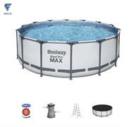 Бассейн каркасный BestWay Steel Pro MAX 56438 фильтр-насос, лестница, тент, подстилка 457х122см