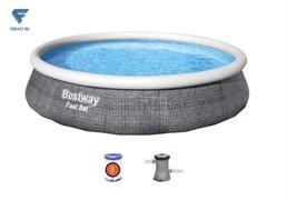 Бассейн надувной Bestway 57376 Fast Set + насос фильтр 396х84