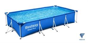 Прямоугольный каркасный бассейн 400х211х81 Bestway 56424 steel pro + фильтр-насос