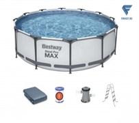 Каркасный бассейн BestWay Steel Pro MAX 56420Б + фильт насос, лестница, тент, (366х122)