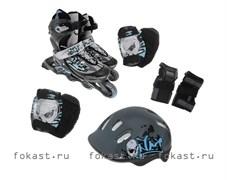 Набор: коньки ролик, защита, шлем р.34-37 PW-117С