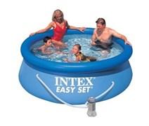 Надувной бассейн Intex 28112-H с верхним кольцом + фильтр-насос (244х76см)