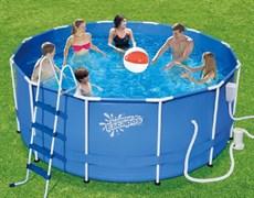 Каркасный бассейн SummerEscapes P20-1252-B +фильт насос, лестница, тент, подстилка, набор для чистки, скиммер (366х132см)